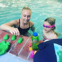 Child and Instructor in the Pool, Swim Instruction, Fresno, CA